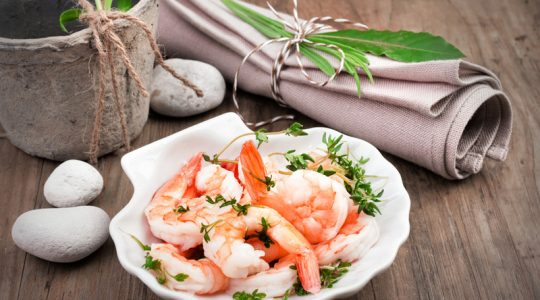 Shrimps in lemon sauce in a scallop shell dish